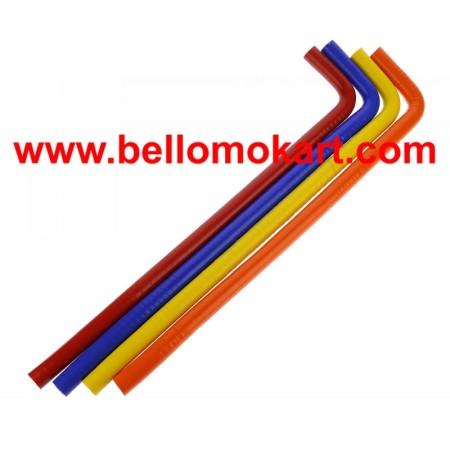 Tubo acqua in silicone (4-colori) 2 curve 90° 600 mm