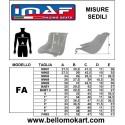 tabella misure sedile kart Imaf FA