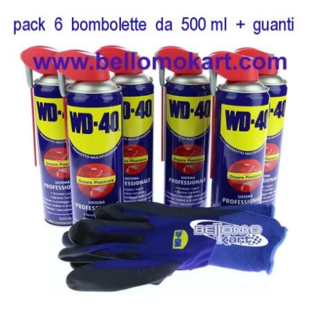 wd-40 pack 6 bombolette 500 ml + guanti