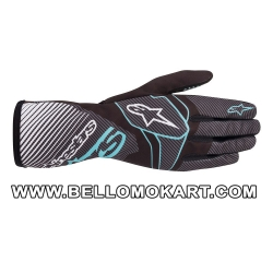 Guanti Alpinestars Tech 1-K Race V2 CARBON nero turchese