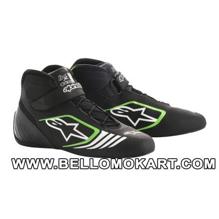 scarpe kart alpinestars TECH 1 KX nero verde bianco