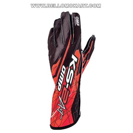 guanti OMP KS2 ART  rosso-nero new