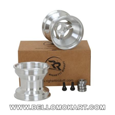 Set 2 cerchi razze alluminio 115 mm con mozzo completi