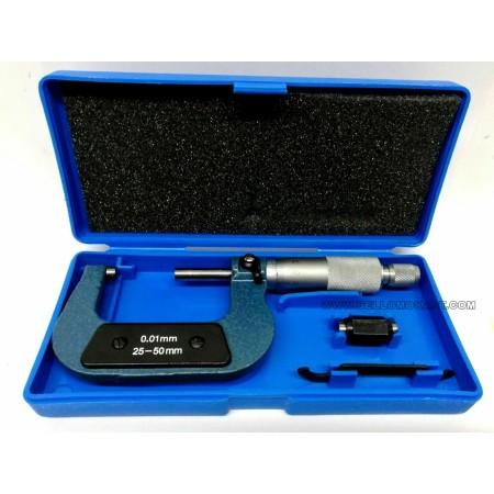 Micrometro centesimale con frizione sul tamburo 25-50 mm