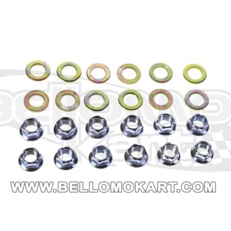 kit 12 dado ruota  flangiato + rondelle  douglas m8 esagono 10mm